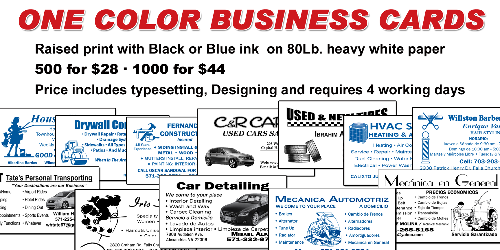 Dupont printing service one color business cards one color business cards reheart Image collections